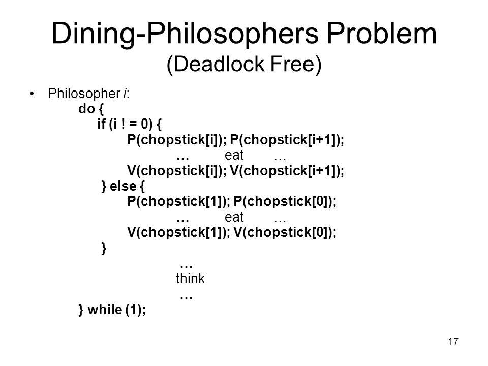 17 Dining-Philosophers Problem (Deadlock Free) Philosopher i: do { if (i ! = 0) { P(chopstick[i]); P(chopstick[i+1]); …eat… V(chopstick[i]); V(chopsti