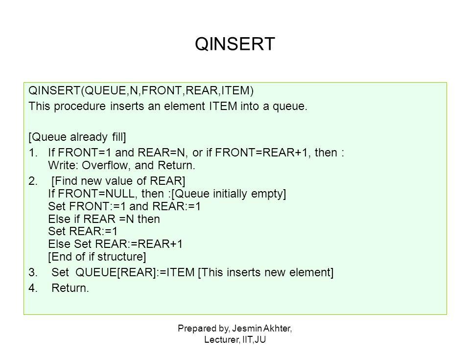 Prepared by, Jesmin Akhter, Lecturer, IIT,JU QINSERT QINSERT(QUEUE,N,FRONT,REAR,ITEM) This procedure inserts an element ITEM into a queue. [Queue alre