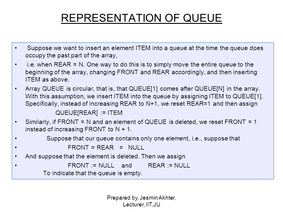 Prepared by, Jesmin Akhter, Lecturer, IIT,JU Suppose we want to insert an element ITEM into a queue at the time the queue does occupy the past part of