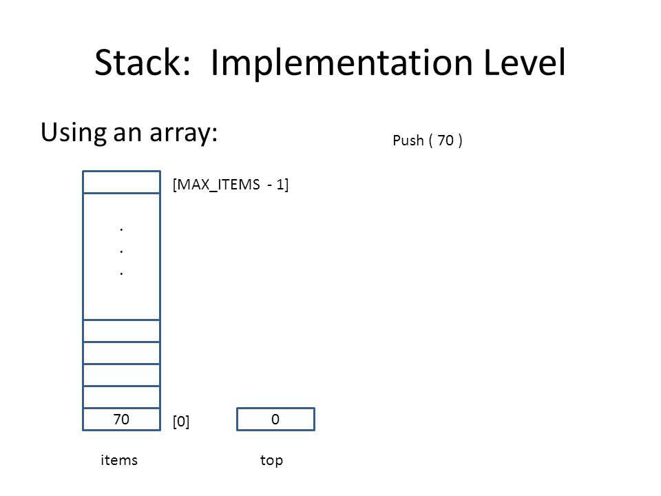 Stack: Implementation Level Using an array: 70...... items [0] [MAX_ITEMS - 1] 0 top Push ( 70 )