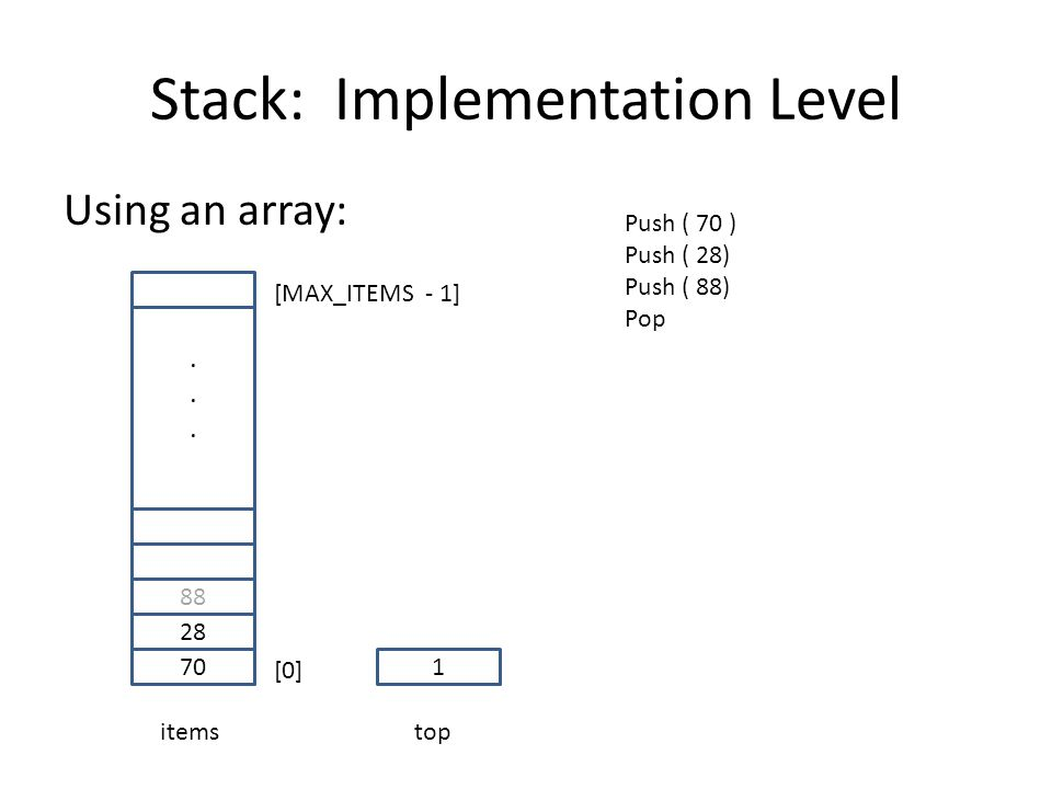 Stack: Implementation Level Using an array: 70 28 88......
