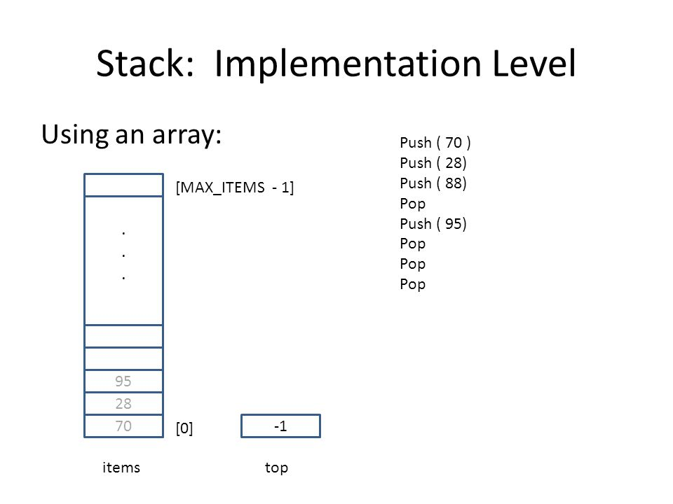 Stack: Implementation Level Using an array: 70 28 95......