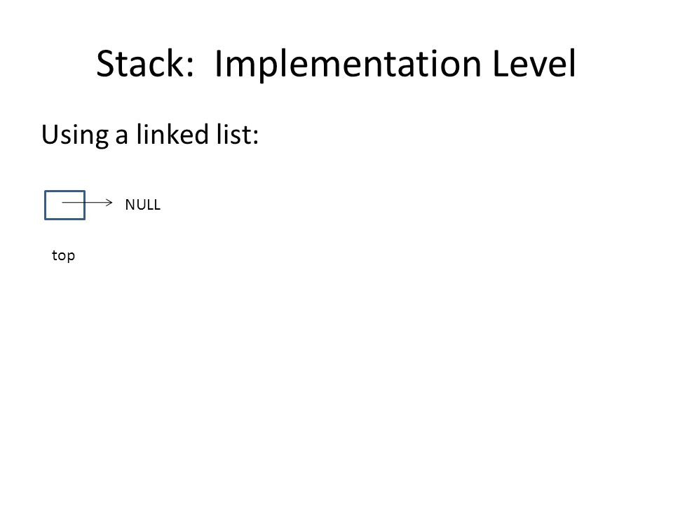 Stack: Implementation Level Using a linked list: top NULL