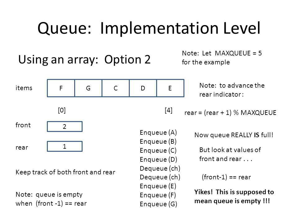 Queue: Implementation Level Using an array: Option 2 items [0][4] 1 FGCDE rear front 2 Note: Let MAXQUEUE = 5 for the example Keep track of both front and rear Note: queue is empty when (front -1) == rear Enqueue (A) Enqueue (B) Enqueue (C) Enqueue (D) Dequeue (ch) Enqueue (E) Enqueue (F) Enqueue (G) Note: to advance the rear indicator : rear = (rear + 1) % MAXQUEUE Now queue REALLY IS full.