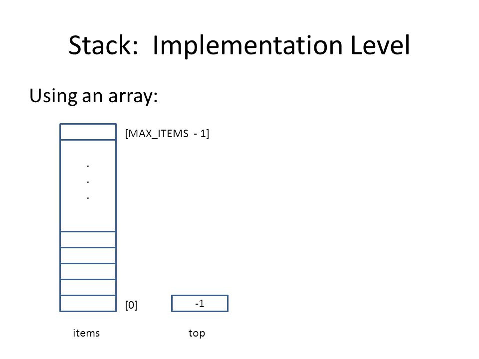 Stack: Implementation Level Using an array:...... items [0] [MAX_ITEMS - 1] top