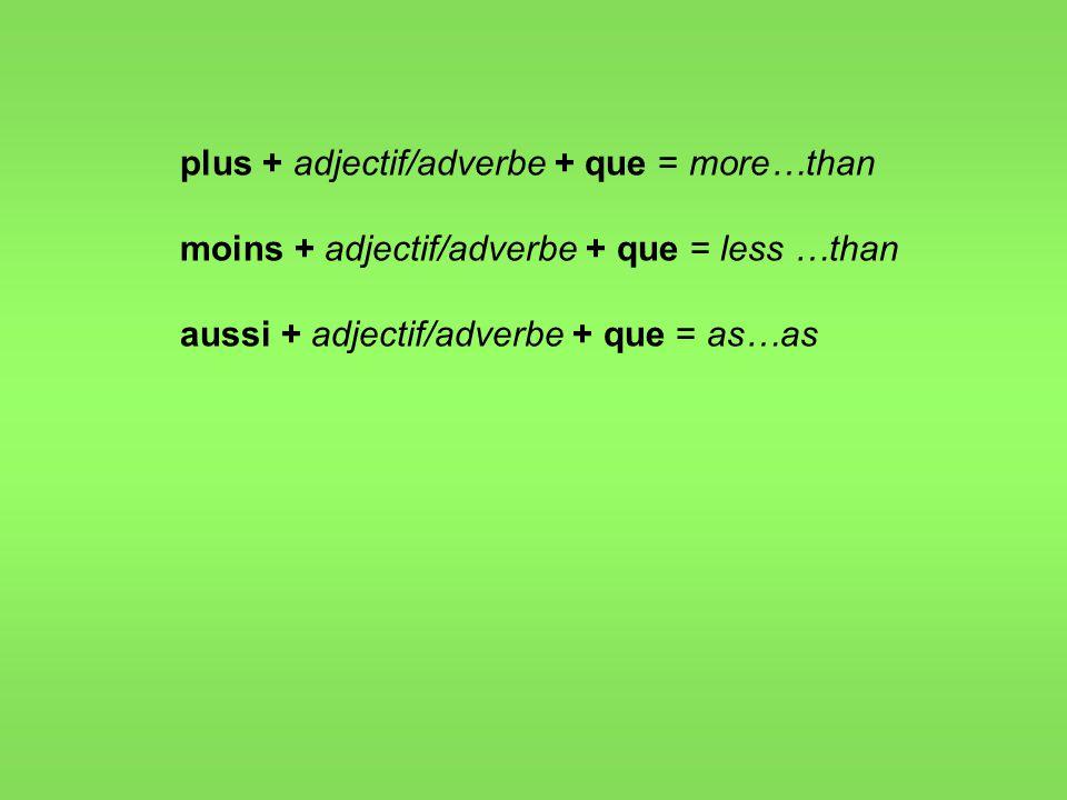 plus + adjectif/adverbe + que = more…than moins + adjectif/adverbe + que = less …than aussi + adjectif/adverbe + que = as…as