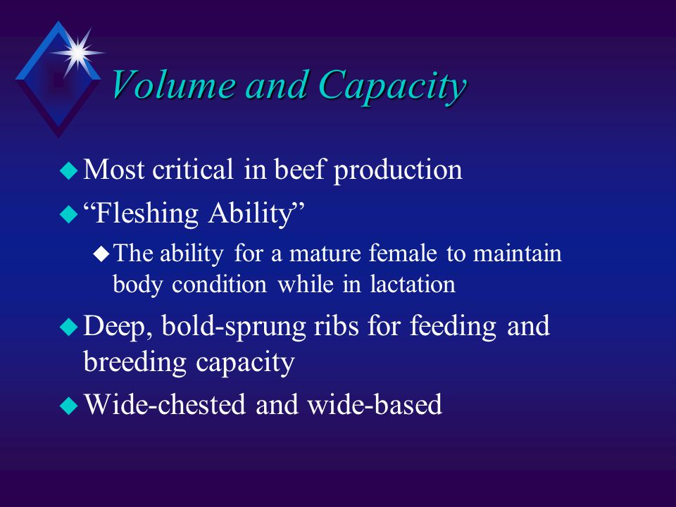 Volume and Capacity u Most critical in beef production u Fleshing Ability u The ability for a mature female to maintain body condition while in lactation u Deep, bold-sprung ribs for feeding and breeding capacity u Wide-chested and wide-based