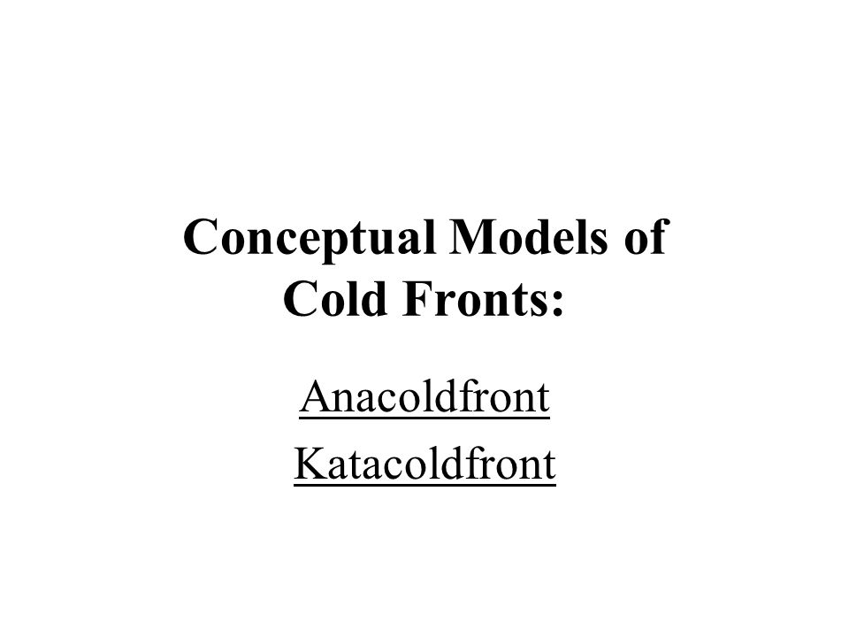 Conceptual Models of Cold Fronts: Anacoldfront Katacoldfront