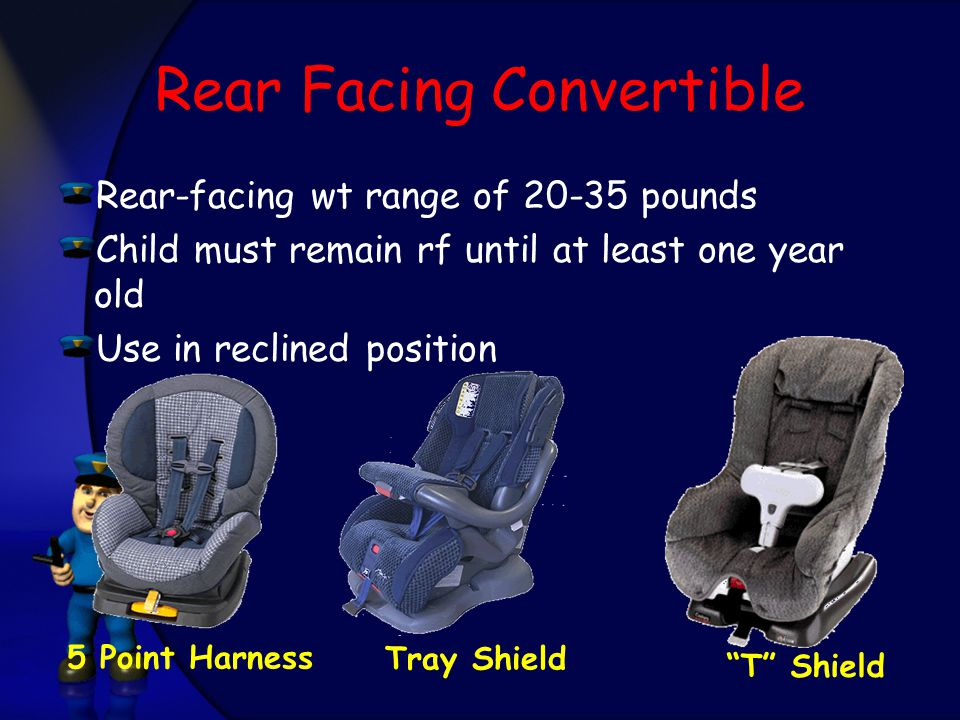 Rear Facing Convertible Rear-facing wt range of pounds Child must remain rf until at least one year old Use in reclined position T Shield 5 Point Harness Tray Shield