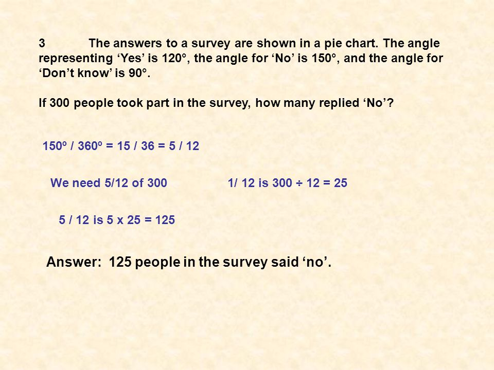 150º / 360º = 15 / 36 = 5 / 12 We need 5/12 of 3001/ 12 is 300 ÷ 12 = 25 5 / 12 is 5 x 25 = 125 Answer: 125 people in the survey said 'no'.