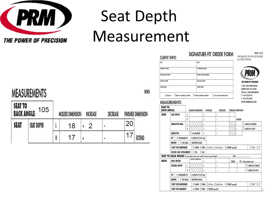 Seat Depth Measurement 18 17 20 17 2 105