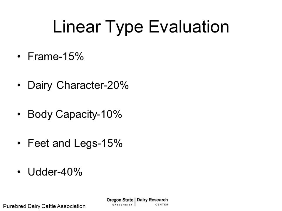 Linear Type Evaluation 50 point scale Comparing against ideal Objective comparison Breed Classification