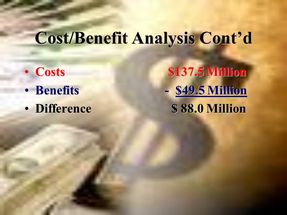 Cost/Benefit Analysis: Recall.