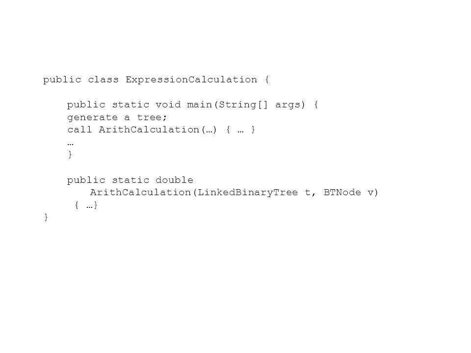 public class ArrayQueueCircular implements Queue{ LinkedBinaryTree tree = new LinkedBinaryTree(); Position p0 = tree.addRoot(new Character( - )); Position p1 = tree.insertLeft(p0, new Character( / )); Position p2 = tree.insertRight(p0, new Character( + )); Position p3 = tree.insertLeft(p1, new Character( * )); Position p4 = tree.insertRight(p1, new Character( + )); Position p5 = tree.insertLeft(p2, new Character( * )); Position p6 = tree.insertRight(p2, new Integer(6)); Position p7 = tree.insertLeft(p3, new Character( + )); Position p8 = tree.insertRight(p3, new Integer(3)); Position p9 = tree.insertLeft(p4, new Character( - ));