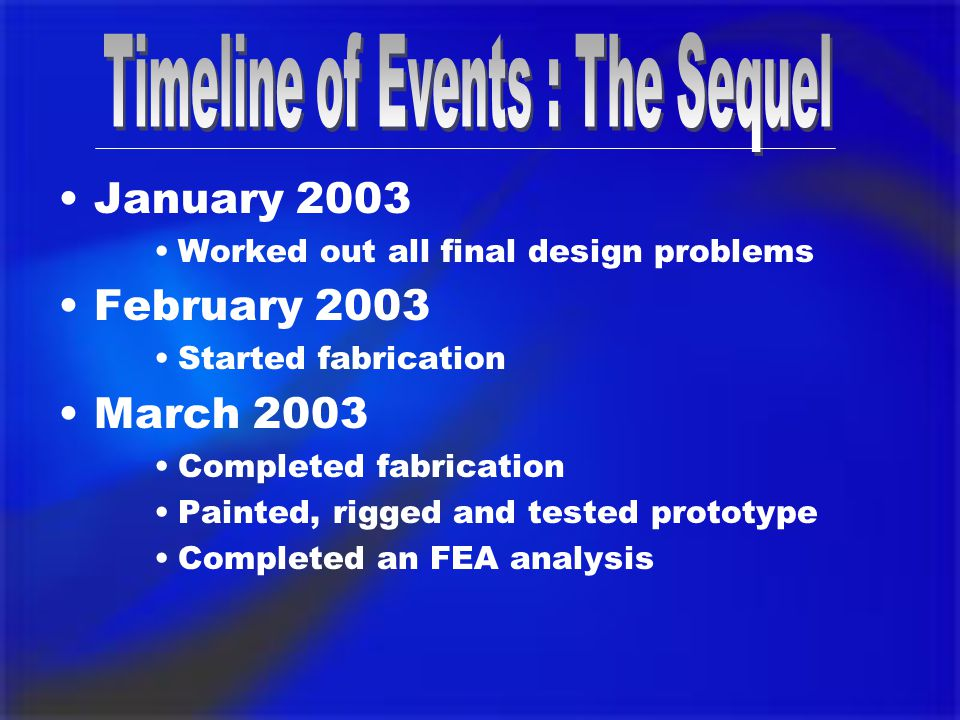 January 2003 Worked out all final design problems February 2003 Started fabrication March 2003 Completed fabrication Painted, rigged and tested prototype Completed an FEA analysis