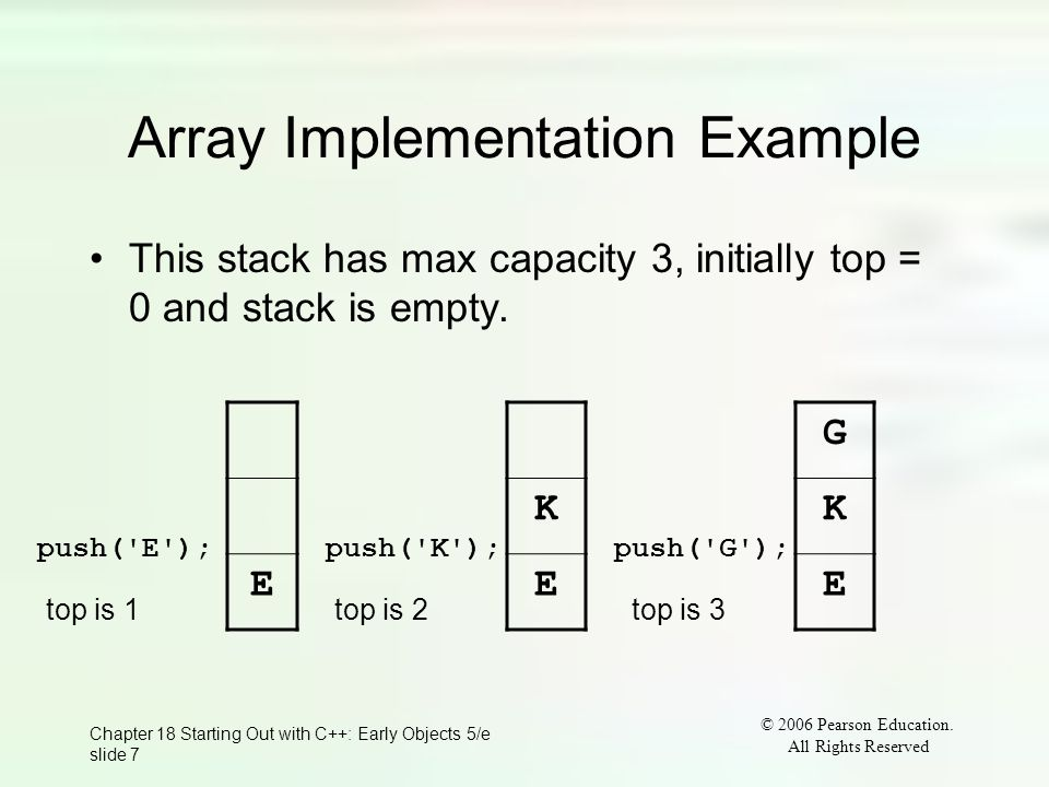 © 2006 Pearson Education. All Rights Reserved Chapter 18 Starting Out with C++: Early Objects 5/e slide 7 Array Implementation Example This stack has