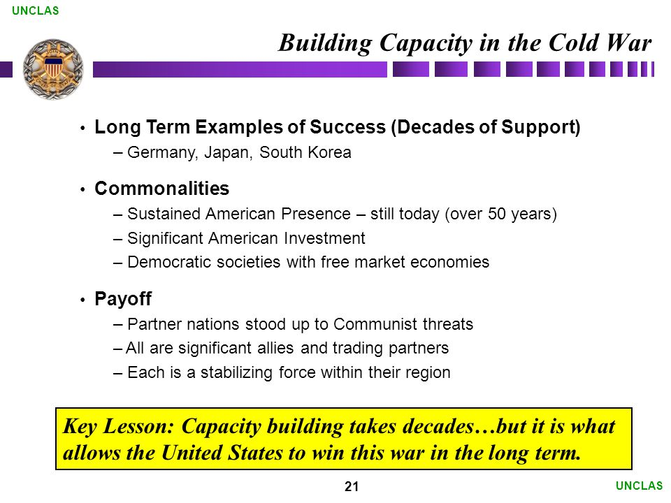 21 UNCLAS Building Capacity in the Cold War Long Term Examples of Success (Decades of Support) – Germany, Japan, South Korea Commonalities – Sustained American Presence – still today (over 50 years) – Significant American Investment – Democratic societies with free market economies Payoff – Partner nations stood up to Communist threats – All are significant allies and trading partners – Each is a stabilizing force within their region Key Lesson: Capacity building takes decades…but it is what allows the United States to win this war in the long term.