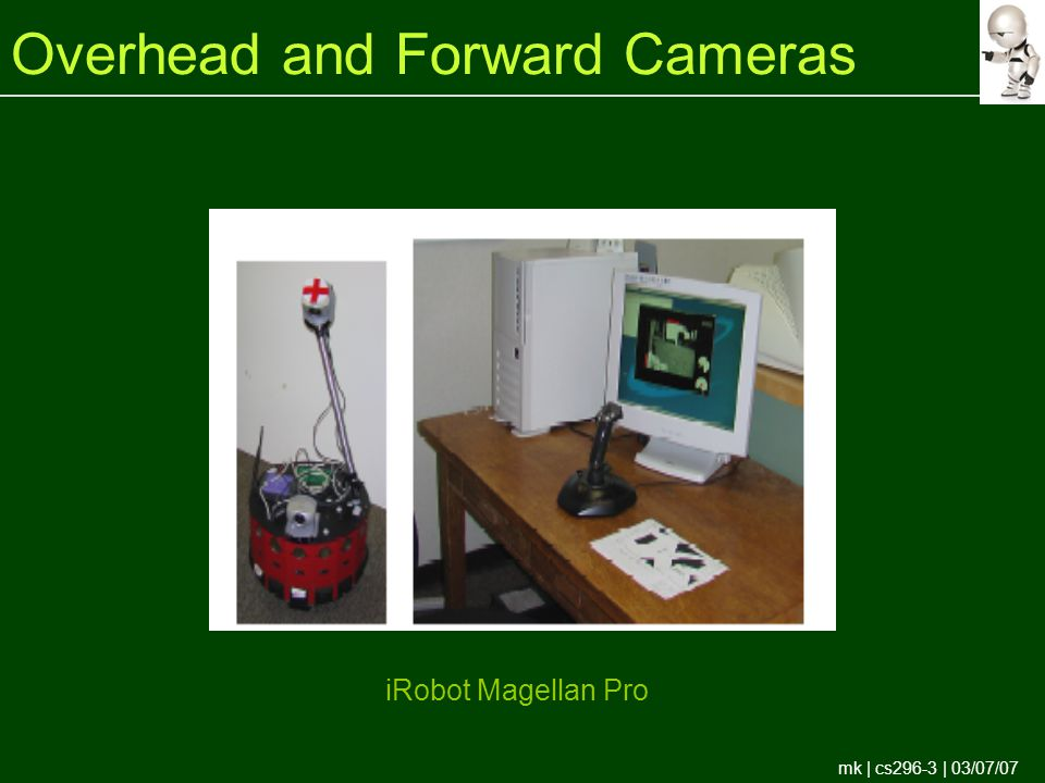 mk | cs296-3 | 03/07/07 Overhead and Forward Cameras iRobot Magellan Pro