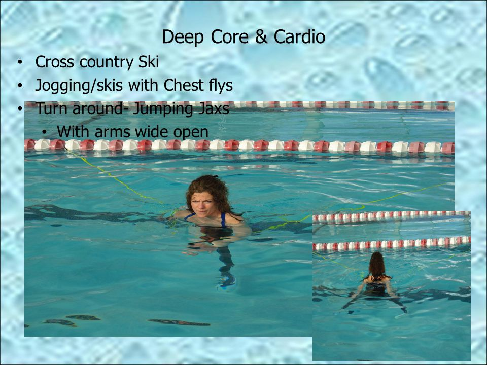 Deep Core & Cardio Cross country Ski Jogging/skis with Chest flys Turn around- Jumping Jaxs With arms wide open