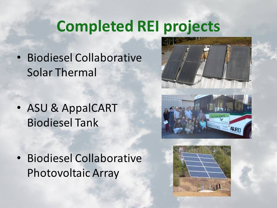 Completed REI projects Biodiesel Collaborative Solar Thermal ASU & AppalCART Biodiesel Tank Biodiesel Collaborative Photovoltaic Array