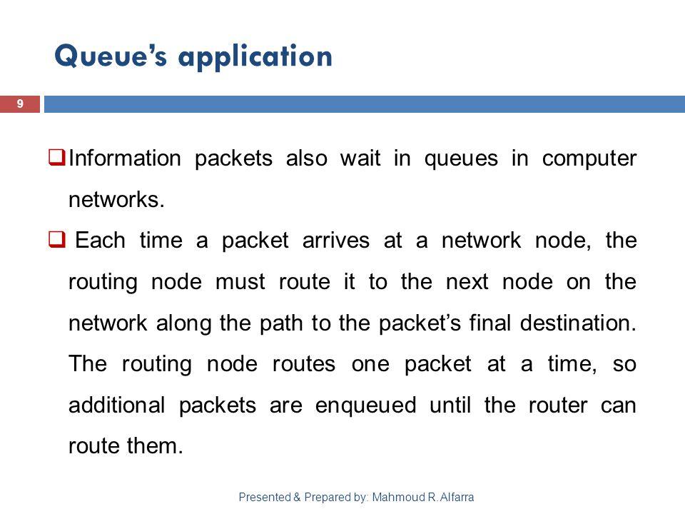 Queue's application 9 Presented & Prepared by: Mahmoud R.