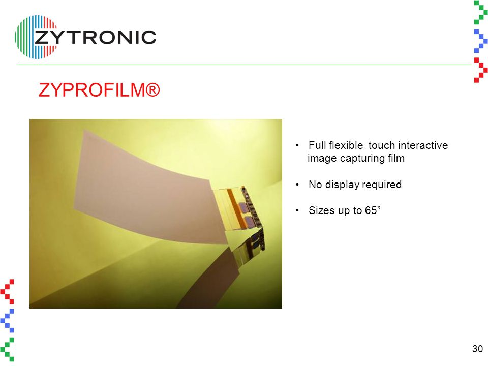 30 ZYPROFILM® Full flexible touch interactive image capturing film No display required Sizes up to 65