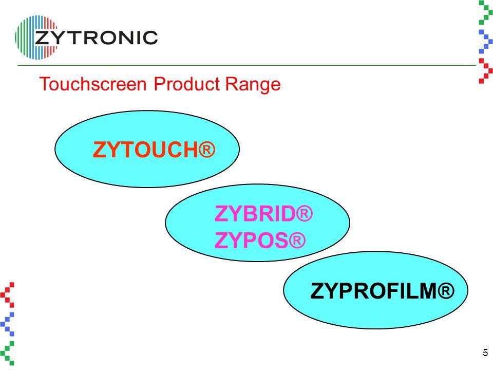 5 Touchscreen Product Range ZYTOUCH® ZYBRID® ZYPROFILM® ZYPOS®
