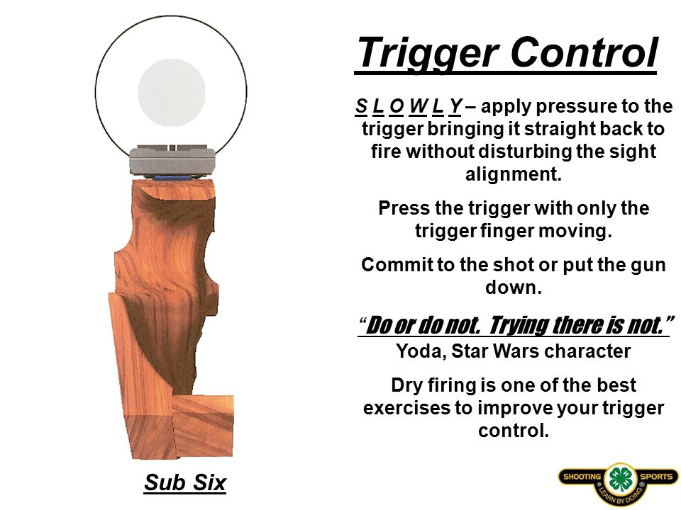 Sub Six Trigger Control S L O W L Y – apply pressure to the trigger bringing it straight back to fire without disturbing the sight alignment.