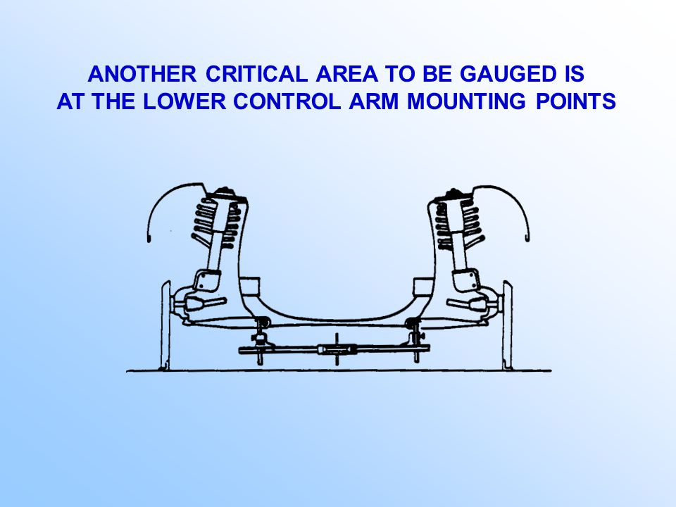 SUSPENSION / CROSSMEMBER / CRADLE MUST BE GAUGED AND BE LEVEL WITH THE BASE OF THE VEHICLE