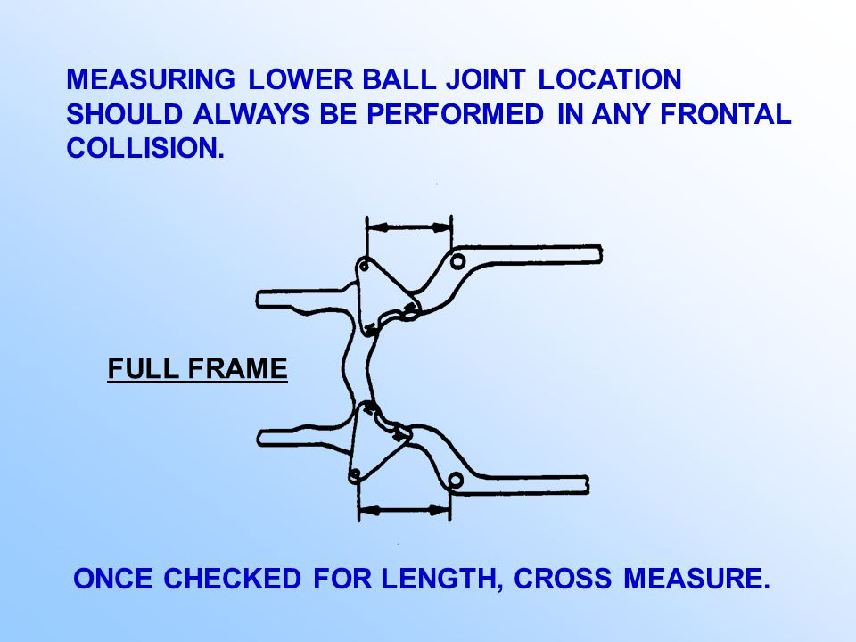 USING THE STRUT TOWER GAUGE AS A TOOL FOR MEASURING LOWER BALL JOINTS ON A STRUT TYPE SUSPENSION.