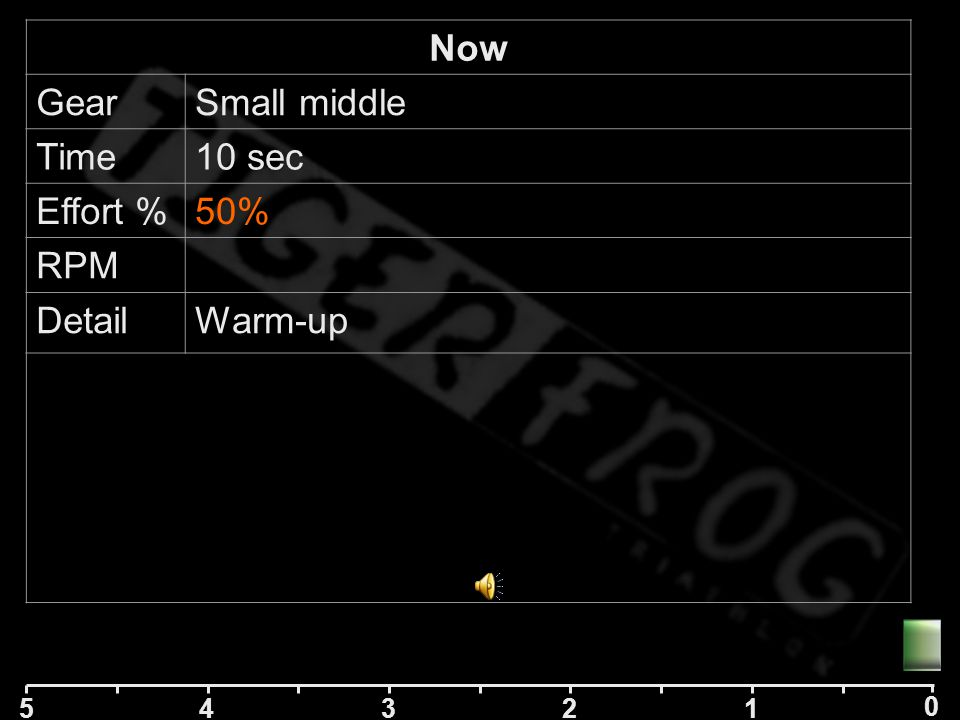 5 42 1 0 3 Now GearSmall middle Time10 sec Effort %85% RPM DetailWarm-up