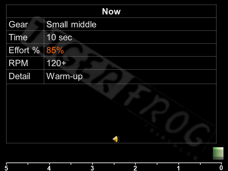 5 42 1 0 3 Now GearSmall middle Time10 sec Effort %50% RPM DetailWarm-up