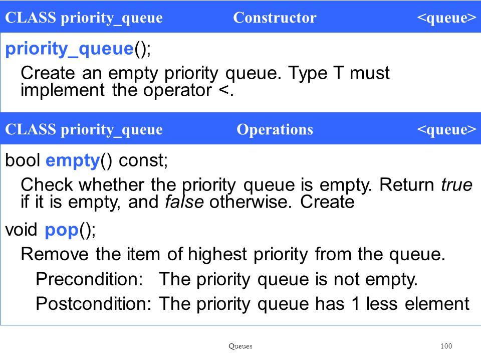 Queues 100 CLASS priority_queue Constructor priority_queue(); Create an empty priority queue.