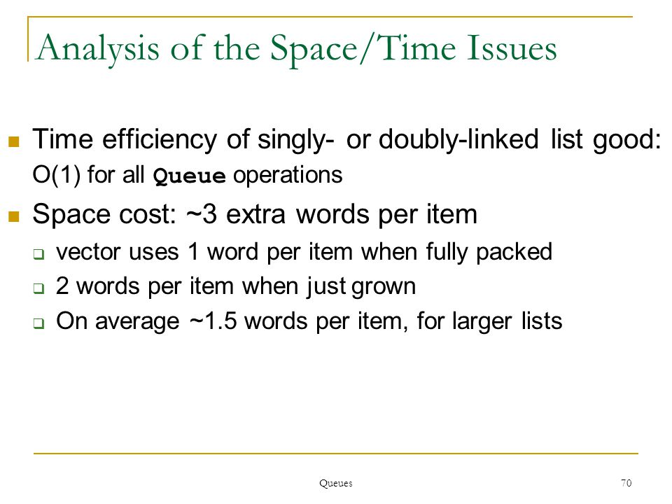 Queues 70 Analysis of the Space/Time Issues Time efficiency of singly- or doubly-linked list good: O(1) for all Queue operations Space cost: ~3 extra words per item  vector uses 1 word per item when fully packed  2 words per item when just grown  On average ~1.5 words per item, for larger lists
