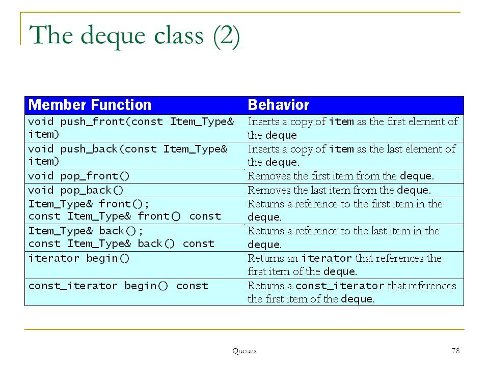 Queues 78 The deque class (2)