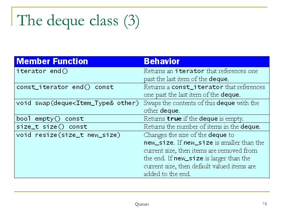 Queues 79 The deque class (3)