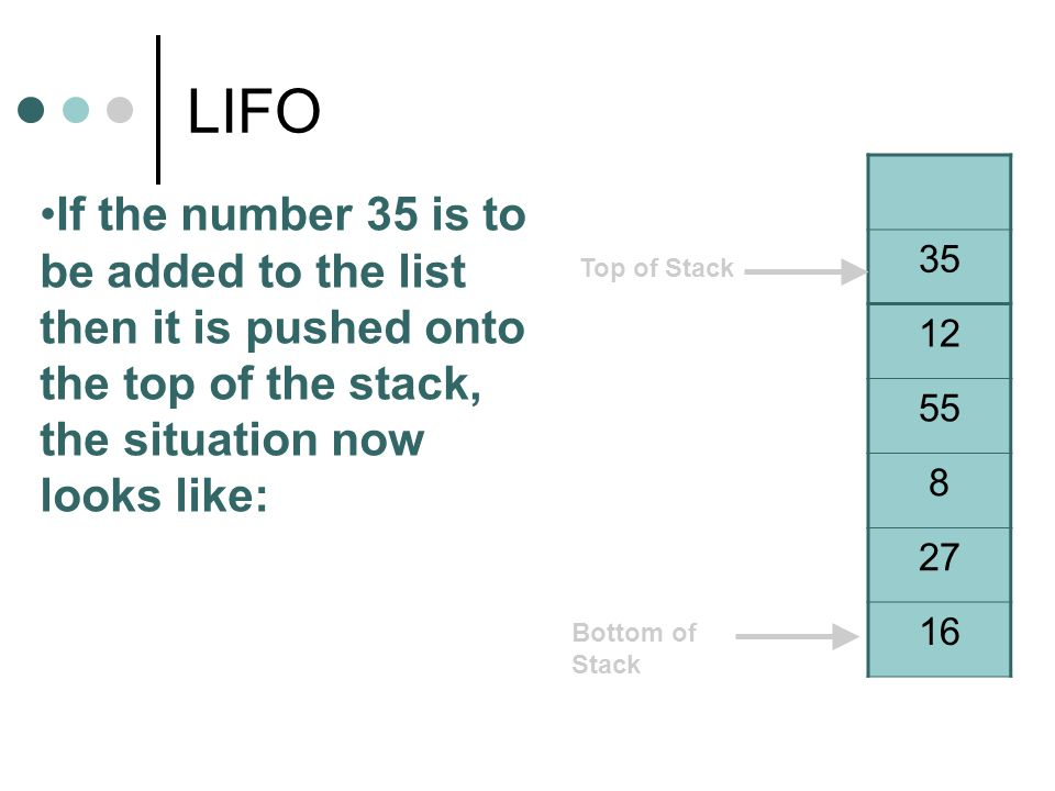 LIFO 35 12 55 8 27 16 If the number 35 is to be added to the list then it is pushed onto the top of the stack, the situation now looks like: Top of Stack Bottom of Stack