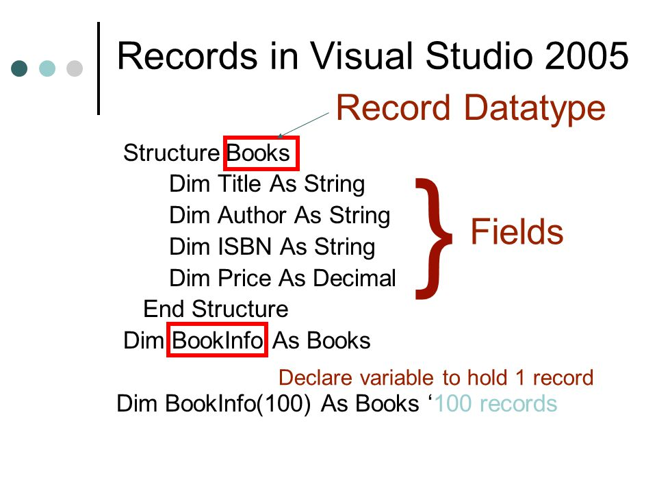 Records in Visual Studio 2005 Structure Books Dim Title As String Dim Author As String Dim ISBN As String Dim Price As Decimal End Structure Dim BookInfo As Books Dim BookInfo(100) As Books '100 records } Fields Record Datatype Declare variable to hold 1 record