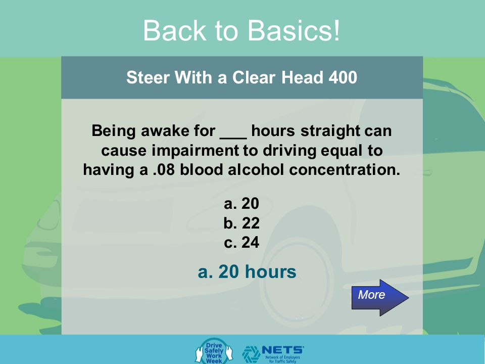 Back to Basics. Steer With a Clear Head 300 Sleep is not voluntary.