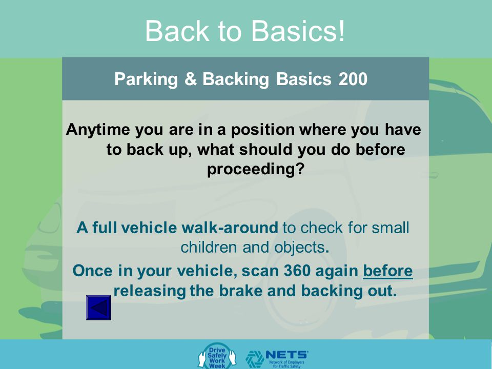 Back to Basics. Parking & Backing Basics 100 What percentage of crashes happen in parking lots.