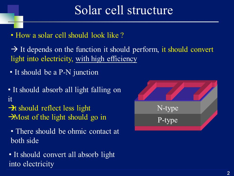 2 Solar cell structure How a solar cell should look like ?  It depends on the function it should perform, it should convert light into electricity, w