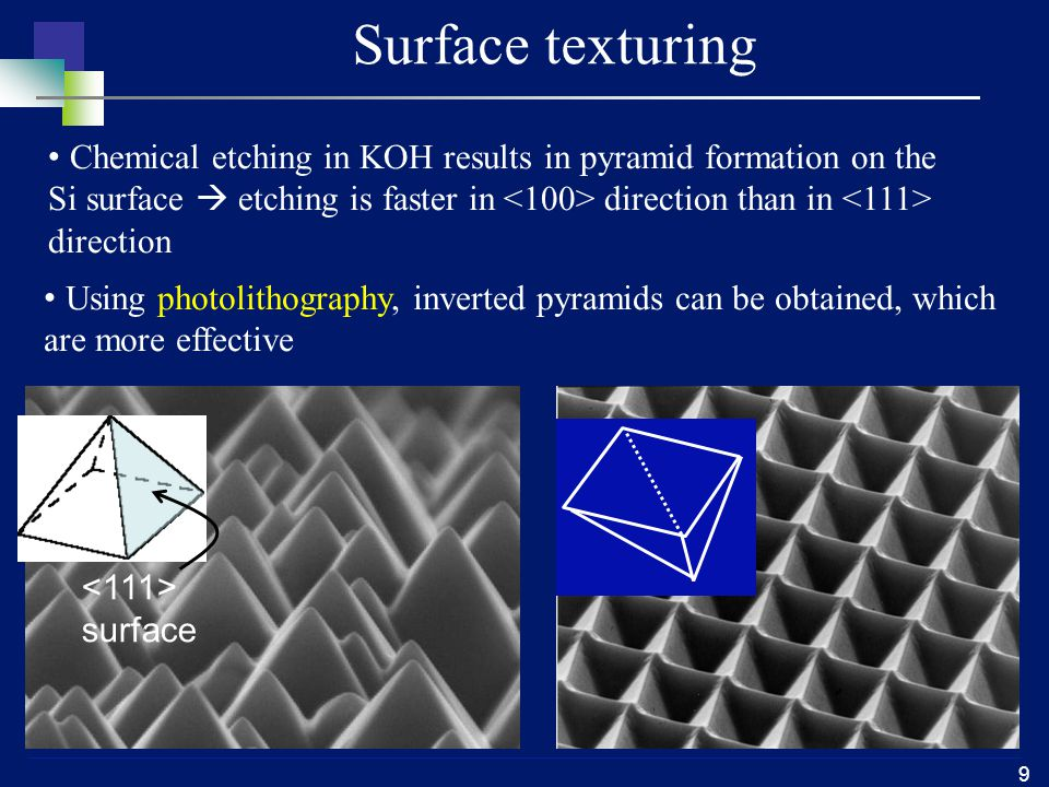 10 Light trapping Rear side reflector or rear side texturing is used to increase the optical path length in solar cell  Increased optical path is required for thin solar cell (thin solar cell have higher V oc.