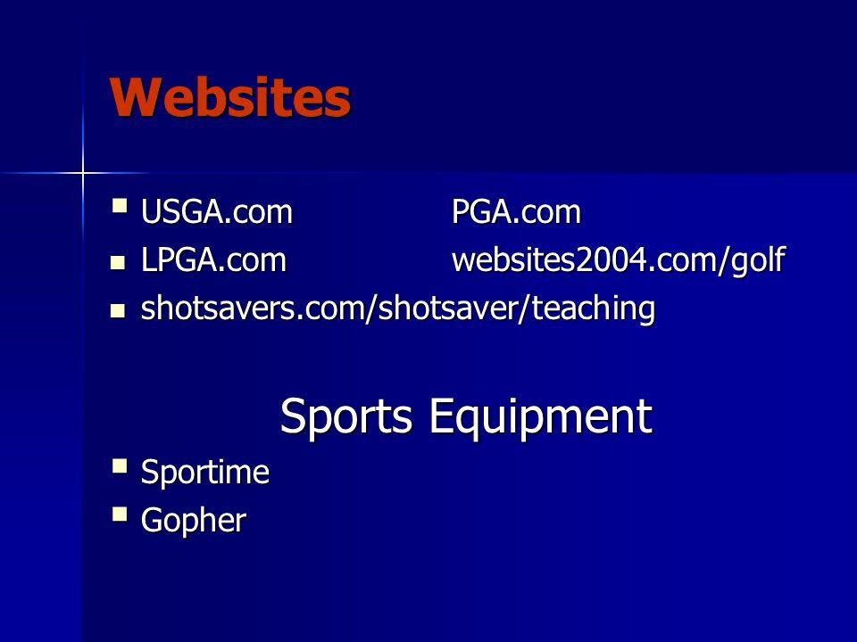 Websites  USGA.comPGA.com LPGA.comwebsites2004.com/golf LPGA.comwebsites2004.com/golf shotsavers.com/shotsaver/teaching shotsavers.com/shotsaver/teaching Sports Equipment  Sportime  Gopher