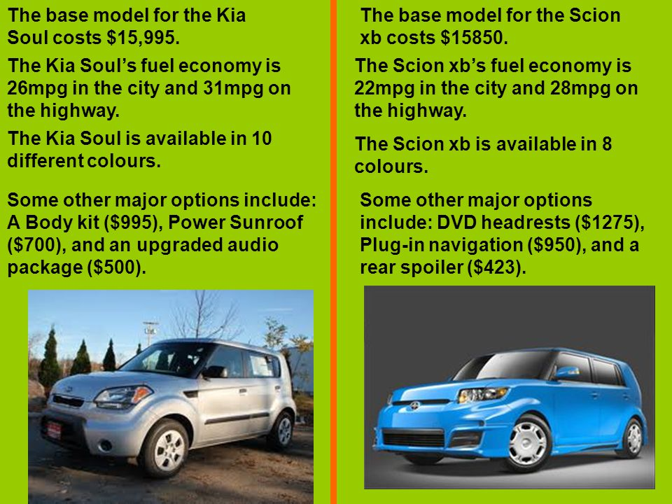 The base model for the Kia Soul costs $15,995. The base model for the Scion xb costs $15850.