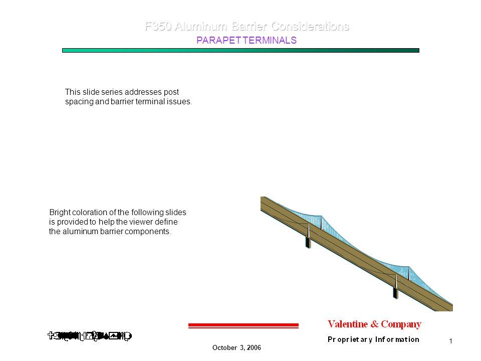 October 3, 2006 PARAPET TERMINALS 2 Rear view of aluminum parapet terminating into A concrete, F-Shape barrier.