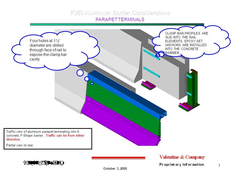 October 3, 2006 PARAPET TERMINALS 3 Traffic view of aluminum parapet terminating into A concrete, F-Shape barrier.