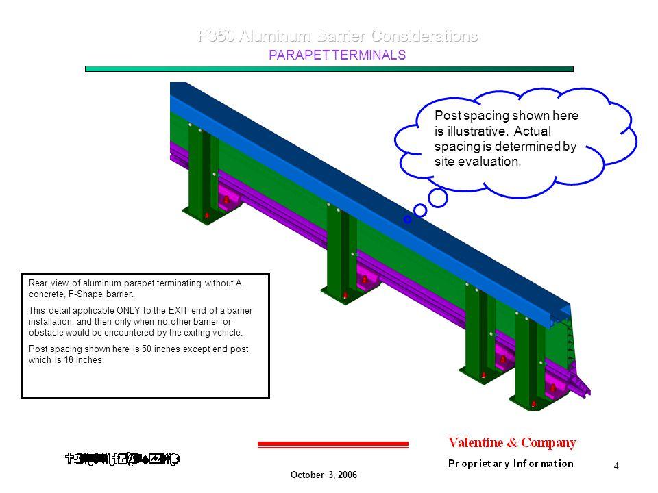 October 3, 2006 PARAPET TERMINALS 4 Rear view of aluminum parapet terminating without A concrete, F-Shape barrier.