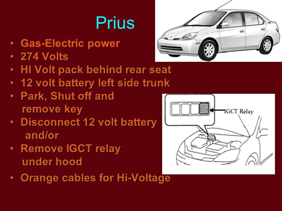 Prius Gas-Electric power 274 Volts274 Volts HI Volt pack behind rear seatHI Volt pack behind rear seat 12 volt battery left side trunk12 volt battery