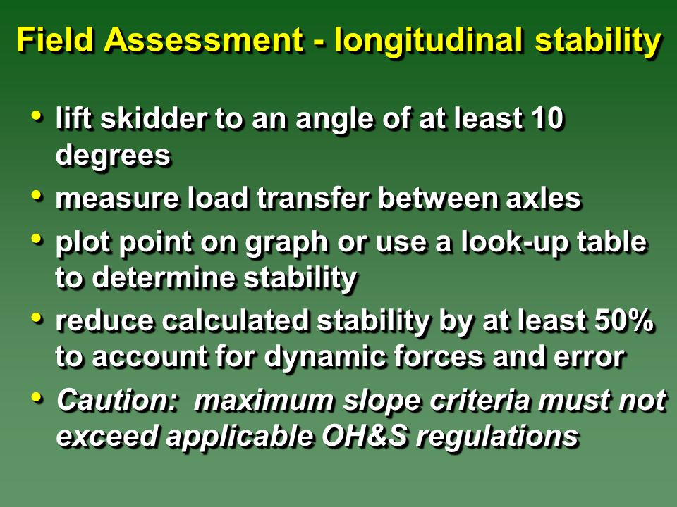 Field Assessment - longitudinal stability lift skidder to an angle of at least 10 degrees lift skidder to an angle of at least 10 degrees measure load transfer between axles measure load transfer between axles plot point on graph or use a look-up table to determine stability plot point on graph or use a look-up table to determine stability reduce calculated stability by at least 50% to account for dynamic forces and error reduce calculated stability by at least 50% to account for dynamic forces and error Caution: maximum slope criteria must not exceed applicable OH&S regulations Caution: maximum slope criteria must not exceed applicable OH&S regulations lift skidder to an angle of at least 10 degrees lift skidder to an angle of at least 10 degrees measure load transfer between axles measure load transfer between axles plot point on graph or use a look-up table to determine stability plot point on graph or use a look-up table to determine stability reduce calculated stability by at least 50% to account for dynamic forces and error reduce calculated stability by at least 50% to account for dynamic forces and error Caution: maximum slope criteria must not exceed applicable OH&S regulations Caution: maximum slope criteria must not exceed applicable OH&S regulations