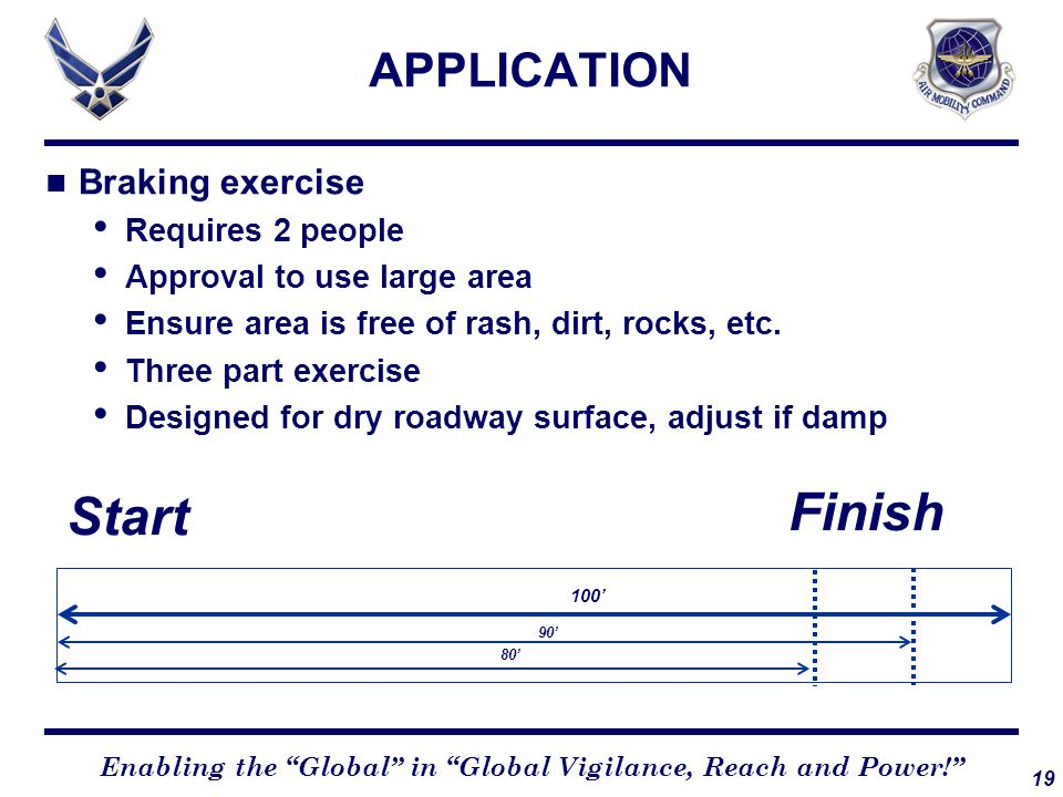 19 Enabling the Global in Global Vigilance, Reach and Power! APPLICATION Braking exercise Requires 2 people Approval to use large area Ensure area is free of rash, dirt, rocks, etc.